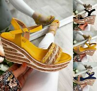 NEW LADIES WOMENS WEDGE SANDALS PLATFORM SUMMER HOLIDAY BEACH SHOES SIZE 3-8