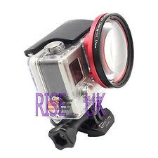 52mm close up lens macro+4 +4 filter + Metal Adapter ring for GoPro Hero 3+ 4