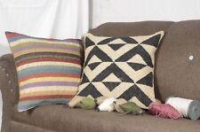 2 set of Indian Vintage Jute Kilim Cushion Cover Decorative Rug Pillow Dorm 8058