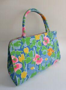 VTG Mid Century 1960's MARGARET SMITH of Gardiner Maine Blue Floral Hand Bag