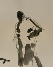 "JOSE TRUJILLO ART Minimalist ACRYLIC on Paper PAINTING 11x14"" Figurative"