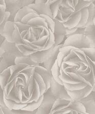 Rasch Floral Light Grey Rose Blossom Feature Vinyl Modern Motif Wallpaper 525601