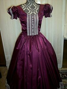 Victorian Day Gown of Plum Taffeta, Ivory Lace, Satin Ribbon Roses trim