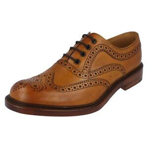 Mens Loake tan burnished calf leather brogue lace up shoe ASHBY tan G fitting