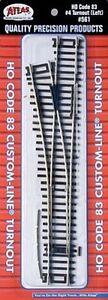 Atlas #561 Left Hand #4 Custom-Line Turnout - Code 83 Rails -  HO Scale