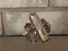 BANANA REPUBLIC Ring Large Clear Purple Crackle Crystal Cocktail Statement Sz 6