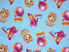 FAT QUARTER QUILTING FABRIC  KOOKY COOKIE LIPPY SHOPKINS GROCERIES  SPRINGS  FQ