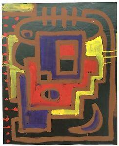 TERK STEFFEN (1950) Art brut Composition 85cm signée de 1976 Groupe Lücke Cobra