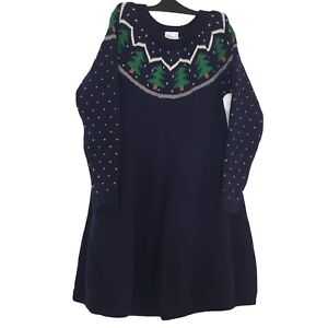 Hanna Andersson Girls 120 US 6 7 Dress Knit Sweater Blue Green Trees Winter NEW