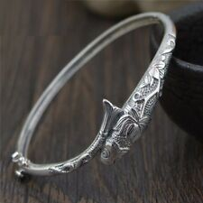 Women Unique Toggle-Clasps Design Vintage Bangles Fish Bracelets Silver Jewelry