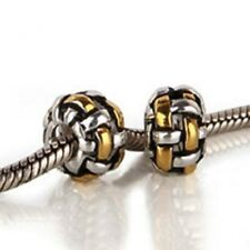 GENUINE 925 STERLING SILVER BEAD 14 ct GOLD PLATED PANDORA BRACELET CHARM BEADS