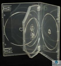 100 x 4 Way Clear DVD 14mm Spine Holds 4 Discs Empty New Replacement Case HQ AAA