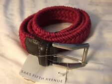 Red-Burgundy Woven Belt From Saks Fifth Ave. New @ $175. Made In Italy ~ Unisex