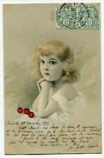 CPA - Carte Postale - Thème - Illustrateur - Petite Fille - Cerise - 1905 (I1000