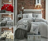 New STAG HEAD TEDDY Fleece Duvet Cover Set + Pillow Case Cosy Warm Soft Bed Set