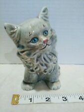 Vintage Ceramic Grey Persian Fluffy Cat Kitty Kitten Planter. Cute Blue Eyes!