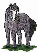 "#4139 3 1/8"" Grey Horse Embroidery Iron On Applique Patch"