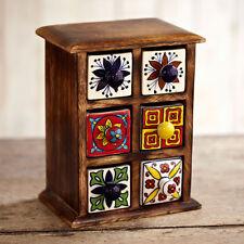 Fair Trade Handmade Traditional Indian Ceramic Hand Painted 6 Drawer Set