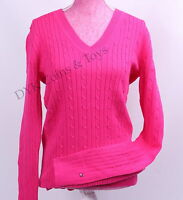 Tommy Hilfiger Women Solid Cableknit Cable Knit Ivy V-Neck Sweater - $0 Shipping