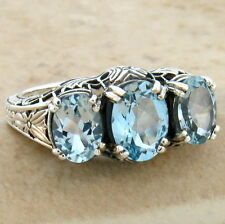 GENUINE SKY BLUE TOPAZ 3 STONE ANTIQUE STYLE 925 SILVER RING SIZE 7,        #258