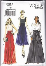 Vogue V8955 14-22 Sewing Pattern Ladies wide Pleated Culottes Skirt & Pants with