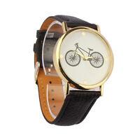 Man Woman Fashion Watch Bicycle Pattern Dial Leather Quartz Analog Wrist Watches