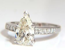 GIA Certified 1.49ct Pear Shape diamond ring .20ct. round accents 14kt