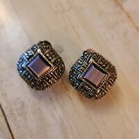"1"" square pierced omega back and purple earrings fashion jewelry silver tone"