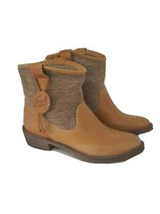 Coolway Womens Ankle Boots Size 5 5.5 Forum Camel Beige Leather Fabric