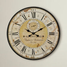 Large Roman Numeral Wall Clock French Style Vintage Shabby Antique Big Oversize