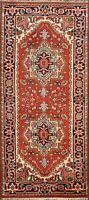 Traditional Heriz Hand-Knotted Geometric Oriental Area Rug Kitchen Carpet 3x6 ft
