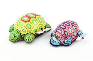 Toy Hero (Japan) Tinplate Clockwork/Wind-Up Funny Tortoises x 2