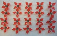50 Red Holly Poinsettia W/ Green Aurora Globe Pins Ceramic Christmas Tree Bulb