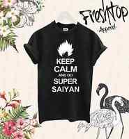 Keep Calm And Go Super Saiyan T Shirt Dragon Ball Z Goku Vegeta SSJ Over 9000