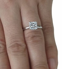 Engagement Ring Solitaire 14K Real White Gold 1.50 Ct Princess Shape Diamond Cut