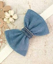 BLUE DENIM JEANS DOG BOW TIE WITH SLIDE ON COLLAR ELASTIC LOOP GREAT GIFT IDEA