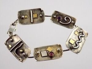 Sue Brown Gordon 14k Yellow Gold Sterling Silver Bracelet Garnet Amethyst 925
