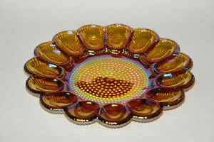 VTG 70s Indiana Glass Co Gold Carnival Glass Egg Relish Platter #1213 Iridescent