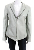 Lafayette 148 New York  Womens Zip Up Jacket Mint Green Leather Size 10