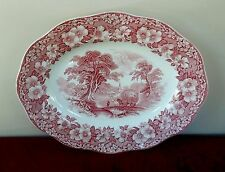 """WEDGWOOD WOODLAND LARGE 14"""" OVAL SERVING PLATTER PINK /RED? (SMALL PLATTER AVAIL"""