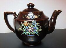 Vintage Japanese Floral Teapot, Hand Painted, Dark Brown Glaze w/Gold Trim