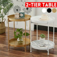 2 Tier Metal Wooden Round Coffee Tea Table Sofa Side End Living Room Furniture