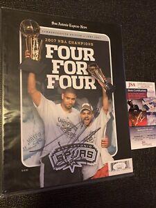 TONY PARKER Auto JSA 2007 NBA Champions Commemorative Edition Magazine MVP 🔥🔥!
