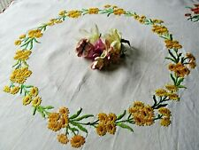VINTAGE EMBROIDERED LINEN TABLECLOTH=BEAUTIFUL FLORAL BOUQUETS