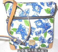 Dooney & Bourke Bougainvillea Blue White Floral Letter Carrier Crossbody