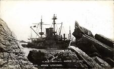 Lundy. HMS Montague Shipwreck Ashore at Lundy # 13 by Twiss Bros., Ilfracombe.