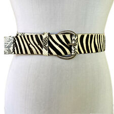 Vintage 1990s Zebra Snakeskin Wide Leather Belt GARUGLIERE
