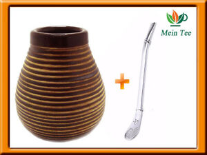 Mate Becher Keramik  + Bombilla Edelstahl Set Yerba Mate