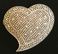 925 Sterling Silver Marcasite Heart Pin Brooch - Marked FAS - Stunning!