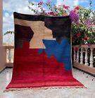"Boujad Moroccan Handmade Vintage Carpet 5'6""x8'1"" Abstract Colorful Berber Rug"